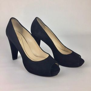 Kate Spade Black Suede Peep Toe Platform Pumps 7